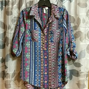 Red Camel Paisley Tunic Top